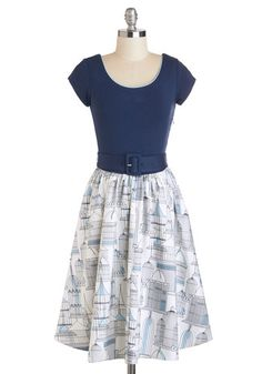 Belt Out a Sweet Birdsong Dress - Blue, White, Novelty Print, Belted, Casual, Vintage Inspired, A-line, Short Sleeves, Spring, Long, Scoop