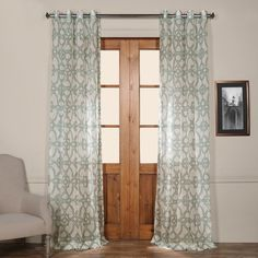 Exclusive Fabrics Sea Glass Blue 50-inch Grommet Sheer Curtain Panel