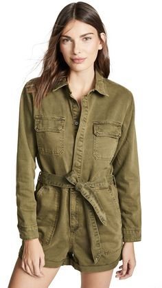 Blank Denim Utility Romper In Sticks & Stones Fast Fashion, Denim Fashion, Blank Denim, Denim Romper, Weekend Outfit, China Fashion, Look Chic, Cool Kids, Military Jacket