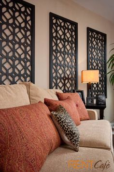 Earth tones and accent wall pieces bring warmth
