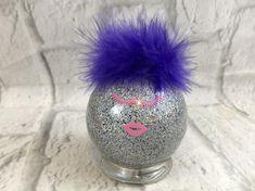 Pink Eyelashes Pink Lips, Purple, Silver Sparkling Glass Mermaid Ornament