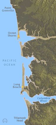Washington beaches. Topical marine map- use to live in Ocean Park, just north of Long Beach on the Long Beach Peninsula