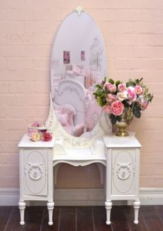 shabby chic style vanity, white girls vanity, antique make up table, vintage rose