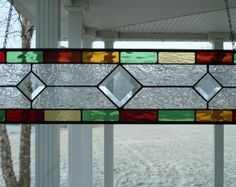 Stained Glass Window Panel Multi Color Transom by TheGlassShire Stained Glass Projects, Stained Glass Patterns, Tiffany, Home Design Decor, House Design, Green Windows, Transom Windows, Stained Glass Panels, Glass Texture