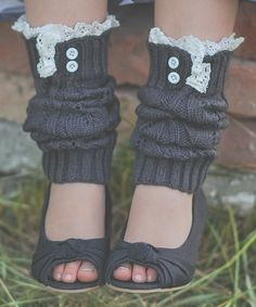 Another great find on #zulily! Just Couture Dark Gray Knit Leg Warmers by Just Couture #zulilyfinds