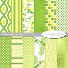 SALE: (50 for 50) Digital Scrapbook Paper Pack  --  Salina Lemon Lime  -  INSTANT DOWNLOAD