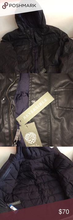 Vince camuto Black jacket leather color black reversible  Size xl Vince Camuto Jackets & Coats Trench Coats