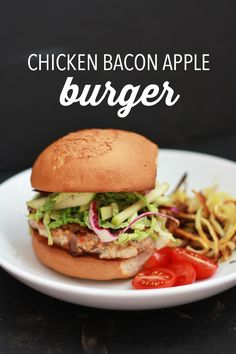 Juicy, flavorful Chicken Bacon Apple Burgers. Paleo, Gluten free, and ...