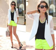 Bright shorts with basics on top.