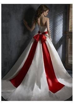 Red white wedding gown