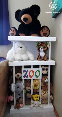 Stuffed animal zoo. I like the shelves on top. I would maybe use bungee cords instead of dowel to make it easier to get the animals in and out.