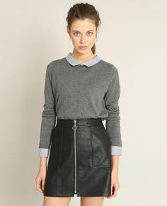 Pull chemise gris