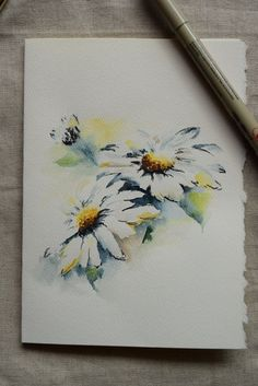 White Daisy Watercolor Painted Card Original or by SunsetPeonies