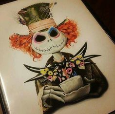 Tim Burton Hatter/Skelington mash-up art