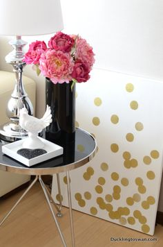 Kate Spade Inspired Gold Confetti Art Canvas