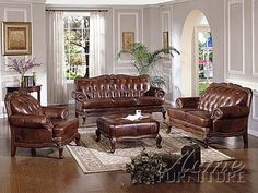 High End Living Room Furniture Tufted Leather Sofa Set