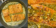 returning the Cajun Salmon to the skillet Salmon Recipe Videos, Salmon Recipes, Fish Recipes, Seafood Recipes, Vegetarian Recipes, Dinner Recipes, Cooking Recipes, Cooking Fish, Cabbage And Smoked Sausage