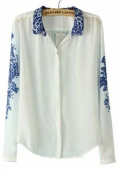 White and Blue Porcelain Print Chiffon Blouse pictures