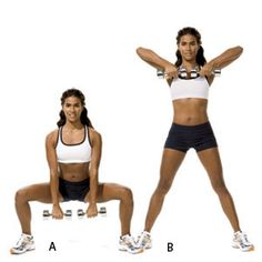 Plie Squat + Upright Row: Grab a pair of 5- to 8-pound dumbbells and stand with your feet wider than hip-distance apart, your toes turned out about 45 degrees. Squat until your legs reach 90 degrees, keeping your weight on your heels and your knees behind your toes. As you return to start, lift the dumbbells to your chest, letting your elbows lead and keeping your palms facing your body.