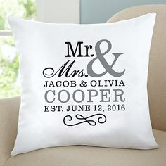 Image result for est. wedding date pillow