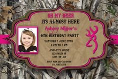 Pink Camo Birthday Invitation by CharmingAngel on Etsy, $12.00