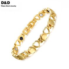 Healthy Care Magnetic Bracelets Bangles Gold Plated Heart Stainless Steel Women Female Fashion Jewelry SBRM-038GG