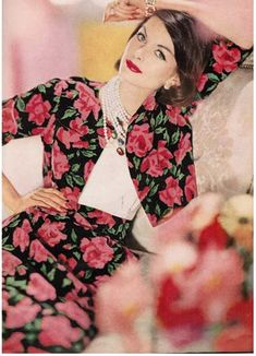 vintage fashion 1959 | ... rose print velveteen evening suit-March Vogue 1959- Horst Photographer