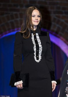 Princess Sofia of Sweden looked demure in a black collared dress as she attended a graduation ceremony in Stockholm