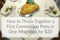 You can go crazy looking at AMAZING parties online. It is totally intimidating, but pulling off a sweet and simple First Communion party does not have to be co Mobile Catering, First Communion Party, Religious Gifts, Sweet, Catholic, Food, Parties, Party Ideas, Easy