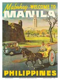 Vintage Travel Art Print: Manila Philippines - Mabuhay (Welcome) by Pacifica Island Art : 1 - Voyage Philippines, Les Philippines, Philippines Culture, Philippines Travel, Filipino Art, Filipino Culture, Filipino Tattoos, Chinese Culture, Filipino Tribal