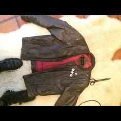 Genuine vintage leather jacket Damage to it from age, most is on the interior genuine leather olive green color,                    pins not included Vintage Jackets & Coats