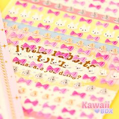 ✪ This adorable Tiny Bow Sticker Sheet was included in the last month's box ✪ Decorate your books, notebooks, cards and gifts! See what else was included ► http://www.kawaiibox.com/kawaii-box-january-2016/