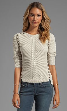 Autumn Cashmere Studded Rib Cable Crew Sweater в цвете Hemp | REVOLVE