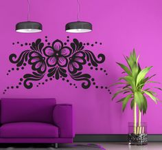 Vinyl Decal Flower Arrangement Horizontal Ornament Wall Sticker Living Room Decor Girls Room Decoration (n309)