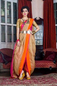 Beige Organic Linen Saree With Pink & Orange Border Dhoti Saree, Churidar, Anarkali, Lehenga, Trendy Sarees, Stylish Sarees, Fancy Sarees, Saree Wearing Styles, Saree Styles