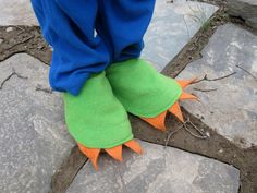 Add these simple, yet effective foot covering to your childs dragon costume for the finishing details, AND the excuse to REALLY STOMP! Made