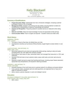 combination food service resume download this resume sample to use as a template for writing - Food Service Resume