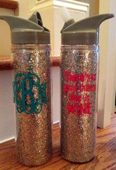 18oz silver or gold glitter sparkle sports water by brandiwalk