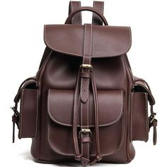 Retro Three Pockets PU Smooth Large School Backpacks – wikoco#bag #Backpack #school#schoolbackpack