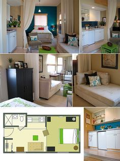 Amazing little studio apartment. less than 300 sq. ft. This comes from a great article that several other small spaces with pictures and floor plans.