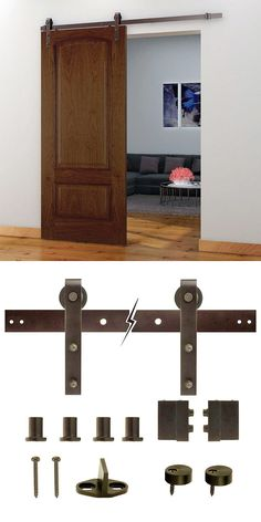 A barn door-style door can save space and add a stylish look to your home. They& great for closets, bathrooms. any interior door or room divider, really. This hardware set includes all mounting hardware and hanging components needed for one door. Sliding Door Hardware, Sliding Doors, Entry Doors, Interior Barn Doors, Home Projects, Home Remodeling, Diy Furniture, New Homes, Decoration
