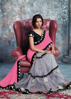 Pink and Grey Color Half Wrinkle Chiffon and Half Net One-Minute Designer Sarees : Prutha Collection YF-20266