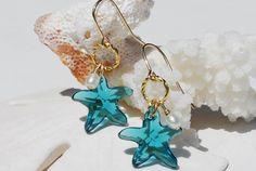 Swarovski Starfish Earrings~14K Gold Filled~Beach~Bridesmaid~Pearl by ornatetreasures on Etsy