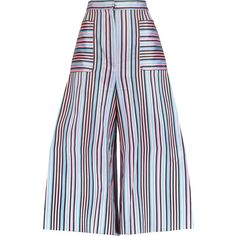 Natasha Zinko Striped jacquard culottes (12.350 RUB) ❤ liked on Polyvore featuring pants, capris, pink, pink high waisted pants, pink pants, high-waisted wide leg pants, high waisted trousers and high rise pants