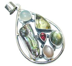 $39.89 Stylish!! Mother Of Pearl Sterling Silver Pendant at www.SilverRushStyle.com #pendant #handmade #jewelry #silver #pearl