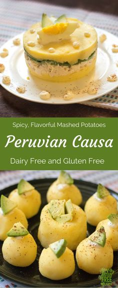 Peruvian Causa will have you coming back bite after bite. With just a few ingredients your family will be loving these layered, spicy mashed potatoes that are gluten free and dairy free! This recipe is so versatile, meat lover, fish lover and vegan options! They also make great, easy party appetizers that will impress your friends and family. Let your taste buds take a trip to Peru, you won't regret it!