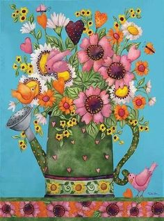 Debi Hron flowers and watering can