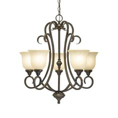 Hampton Bay Lavers Hill 5-Light Iron Stone Chandelier-89579 - The Home Depot