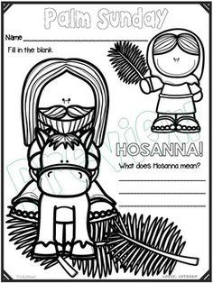 This free coloring sheet shows Jesus riding into Jerusalem