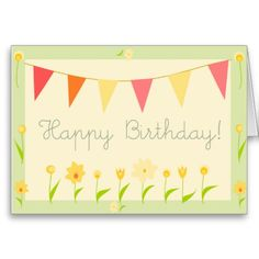 Yellow Flowers Happy Birthdy Greeting Card #yellow #flowers #happy #greeting #birthday #card